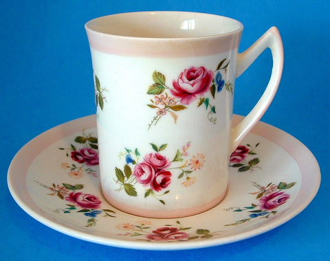 Rosina Tall Tea Cup and Saucer Roses Pink Bone China English 1950s