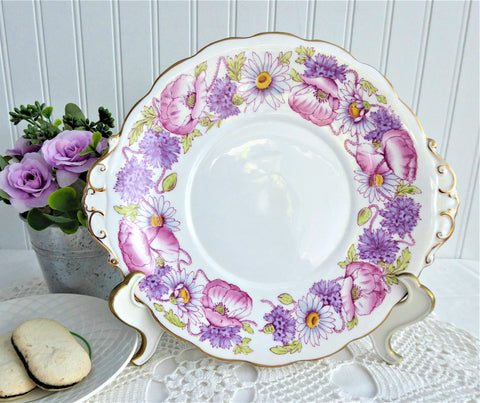 Roslyn England Ambleside Lugged Cake Serving Plate Pink Lavender 1950s Poppies Daisies