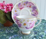 Roslyn Ambleside Cup And Saucer Pink Poppies Daisies 1950s English Bone China