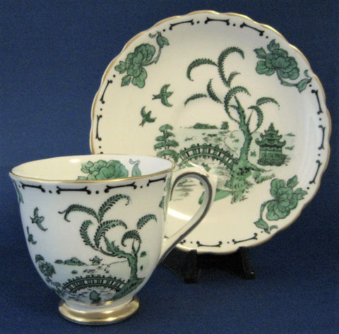Cup And Saucer Royal Chelsea Pekin Green Oriental 1950s Demitasse Charming