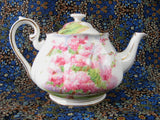 Royal Albert Blossom Time Teapot 1950s Pink Tree Blossoms Large English Bone China