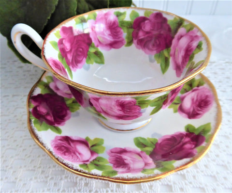 Old English Rose Royal Albert Cup And Saucer 1950s Avon shape Brush Gold