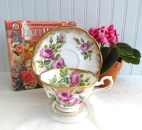 Pink Roses Cup And Saucer Royal Albert Vintage English Bone China 1950s