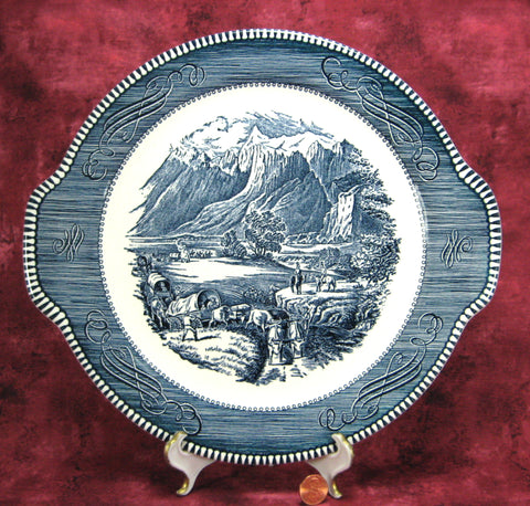Cake Plate Blue Transferware Currier And Ives Vintage Rocky Mountains 1950s Platter
