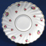 Royal Doulton Rosebud Saucer Only White Swirl Rosebuds 1940s Red White Gold