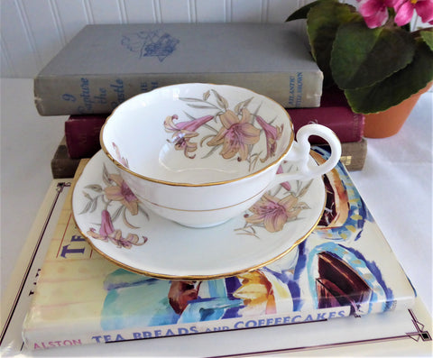 25% OFF Today! Royal Grafton Cup And Saucer Pink Lilies Bone China 1950s English Elegant Afternoon Tea