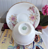 Royal Grafton Cup And Saucer Pink Lilies Bone China 1950s English Elegant Afternoon Tea