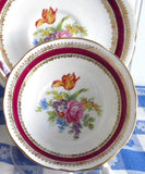 Royal Grafton Bouquet Cup And Saucer 1950s English Bone China Maroon Bands