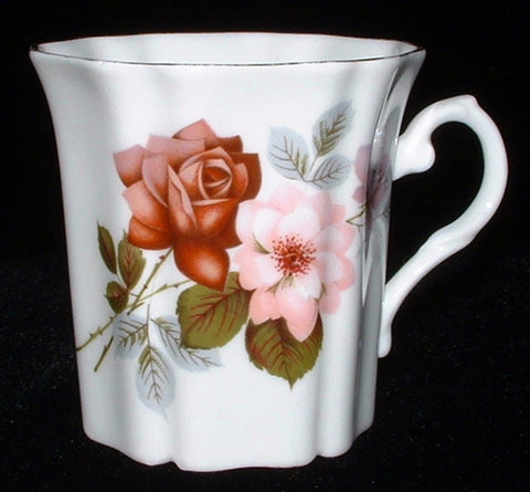 Royal Grafton Mug England Roses Tea Coffee 1950s Pink Burgundy Vintage