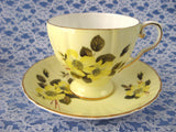 Royal Grafton Sunny Yellow Roses Cup And Saucer English 1950s Bone China