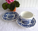 Teacup Trio Royal Homes Of Britain Blue Transferware Cup And Saucer With Plate 1950s