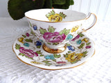 Colorful Floral Cup And Saucer Hand Colored 1950s Royal Tudor Brown Transferware