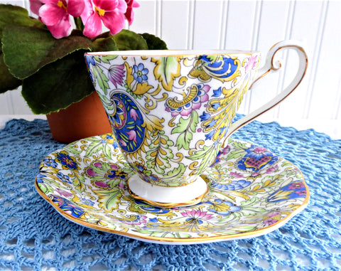 Pretty Tea Cup And Saucer Paisley Chintz 1950s Vintage Royal Standard Blue Pink