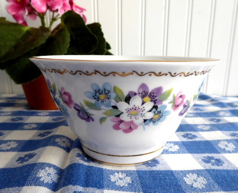 Royal Tara Ireland Sugar Basin Bowl Blue Pink Flower Bouquets 1950s Irish Bone China