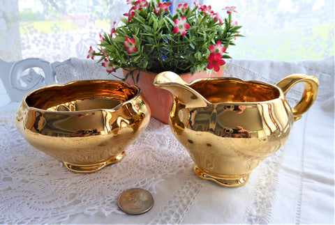 Fancy Royal Winton Golden Age Cream And Sugar Vintage 1960s Gold Luster