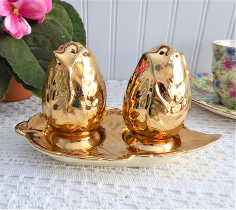 Royal Winton Grimwades Rosebud Golden Age Luster Salt Pepper And Tray 1950s
