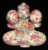Cheadle Chintz Royal Winton 5 Pcs Condiment Salt Pepper Tray Mustard Cruet Set 1950s