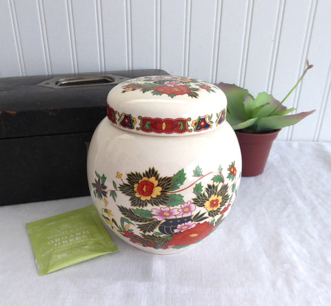 Peony Tea Caddy Sadler 1950s Ginger Jar 5.5 inches High Canister