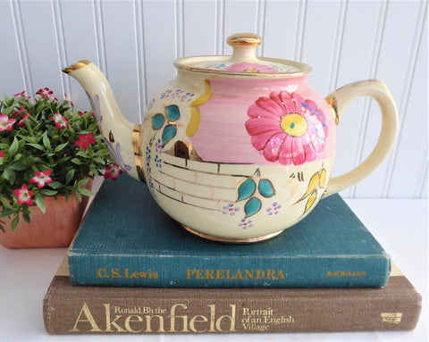 Sadler Teapot Hand Painted Floral Ball Teapot Vintage 1960s England 6 Cups Groovy