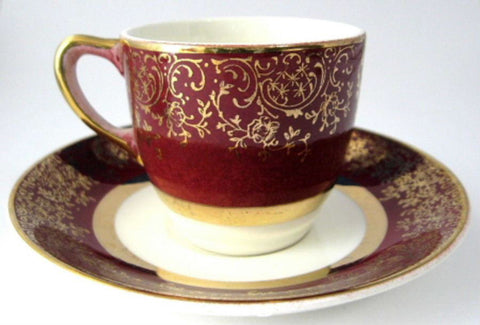 Cup And Saucer Salem Aristocrat Red Gold Overlay Demi After Dinner Coffee