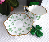 Salisbury Shamrock Cup And Saucer English 1950s Bone China Fancy Shape