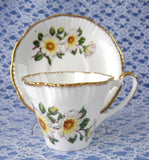 Cup And Saucer Salisbury White Dog Roses 1960s English Bone China Teacup