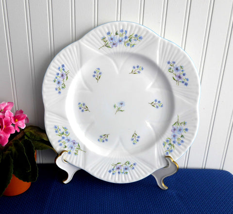 Dinner Plate Shelley China England Blue Rock Dainty 10.75 Inch Plate 1950s Blue And White