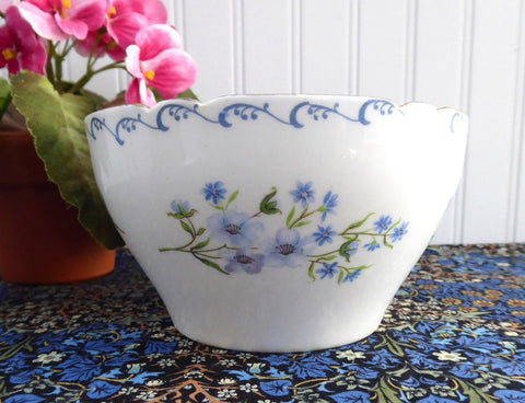Shelley Blue Rock Large Sugar Basin Waste Bowl Gainsborough Blue White