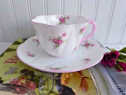 Shelley Dainty Rose Spray Bridal Rose Cup and Saucer England Pink Trim