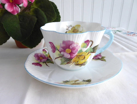 Shelley Dainty Begonia Cup and Saucer England Vintage Blue Trim
