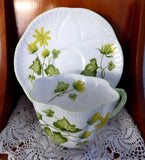 Shelley Celandine Dainty Shape Cup and Saucer English Bone China Green Trim Yellow Floral