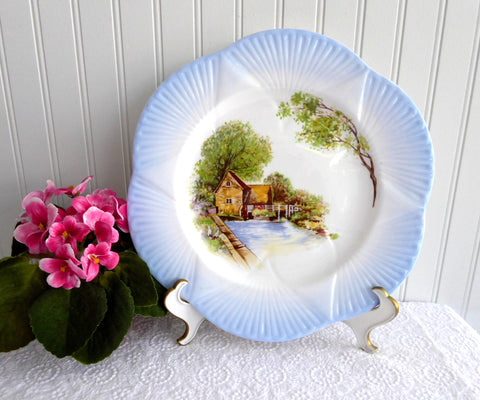Shelley England Dainty Cabinet Plate Old Mill Charger 11 Inch Plate 1950s Blue