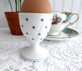 Shelley Dainty Polka Dot Turquoise Eggcup Pedestal Egg 1950s English Bone China