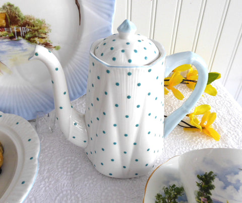 25% OFF Today! Shelley England Polka Dot Dainty Coffee Pot Turquoise Dots 1950s Tall Teapot