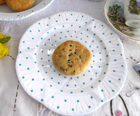 Shelley Dainty Shape Polka Dot Luncheon Plate Turquoise 1940-1966