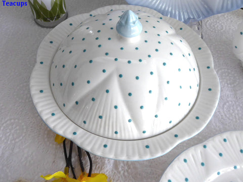 Shelley Dainty Polka Dot Turquoise Covered Muffin Dish Butter Cheese