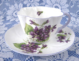 Shelley Dainty Violets Cup And Saucer English Bone China Lavender Trim 1950s
