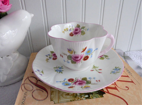 25% OFF Today! Shelley Cup And Saucer Dainty Shape Rose And Red Daisy Pink Trim Bone China