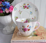 Shelley Cup And Saucer Dainty Shape Rose And Red Daisy Pink Trim Bone China