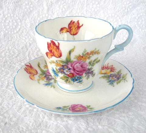 Shelley Davies Tulip Demitasse Cup And Saucer Henley Shape Blue Trim