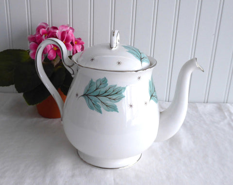Teapot Shelley Tea Pot Drifting Leaves Gainsborough Shape 1956-1966 Aqua Leaves