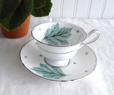 Shelley Drifting Leaves Demi Cup And Saucer Gainsborough Shape 1950s Aqua Leaves