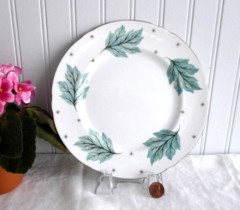 Shelley Luncheon Plate Drifting Leaves 8 Inches Gainsborough Shape 1950s Aqua Leaves