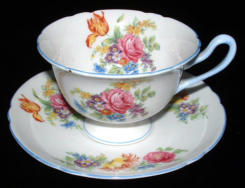 Shelley Cup And Saucer Butcher's Crocus Rose Gainsborough Shape Blue Trim