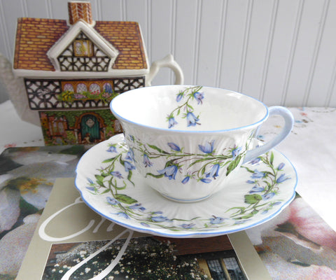 Shelley England Blue Harebell Cup And Saucer Low Oleander Shape Afternoon Tea