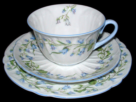 Shelley Breakfast Cup And Saucer With Plate Harebell Low Oleander Shape Blue Trim