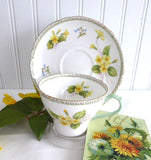 Shelley Cup And Saucer Primrose Cambridge Shape Green Handle Gold Trim 1950s