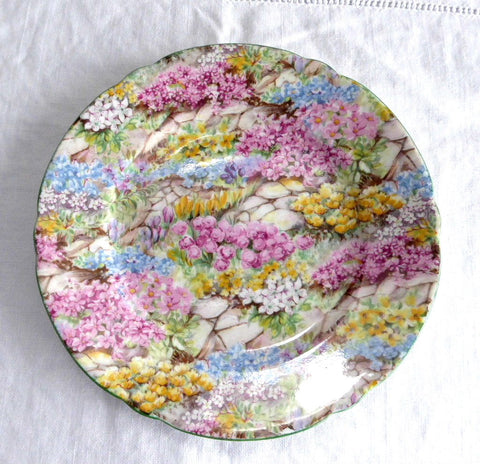 Rock Garden Chintz Shelley China England Plate Cake 6 Inch Plate Side Plate 1950s