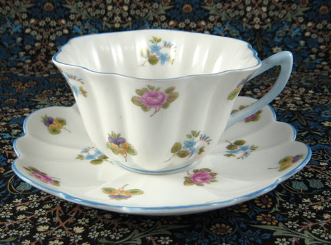 Shelley Cup and Saucer Stratford Shape Rose Pansy Forget-Me-Nots Chintz