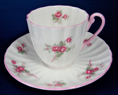 Shelley Rose Spray Chintz Cup and Saucer Ludlow Coffee Demitasse 1950s